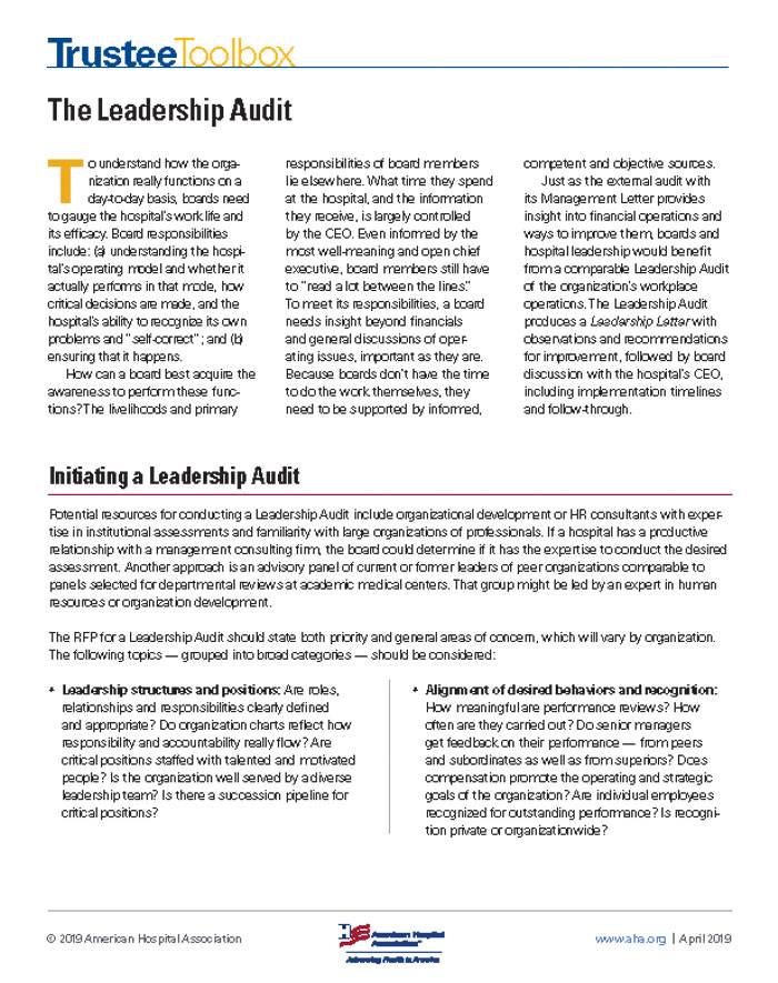 Leadership audit tool