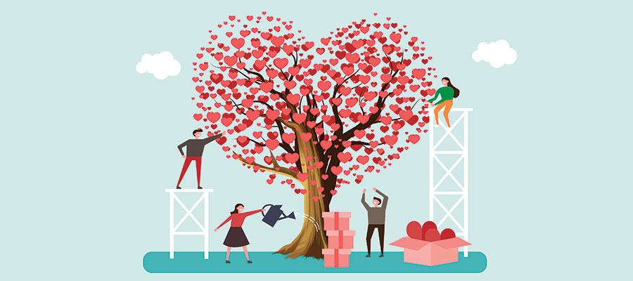 illustration of people nurturing a heart-shaped tree