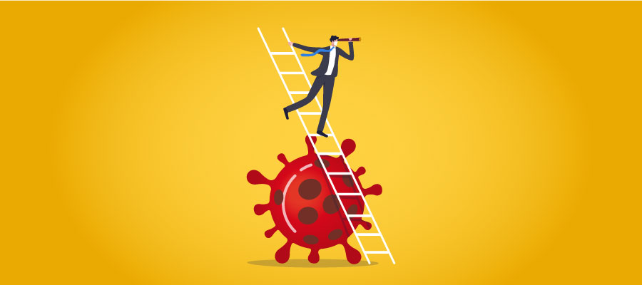 businessperson on ladder looking beyond the coronavirus