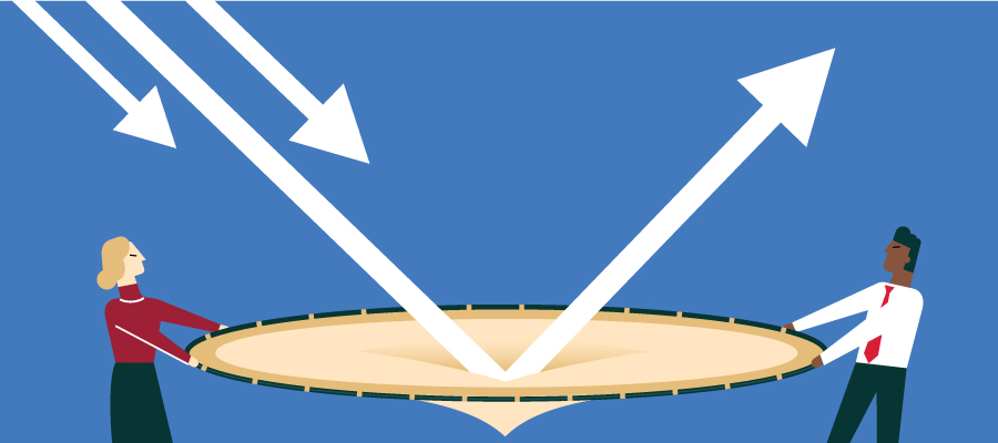 illustration of arrows bouncing up off a trampoline held by businesspeople