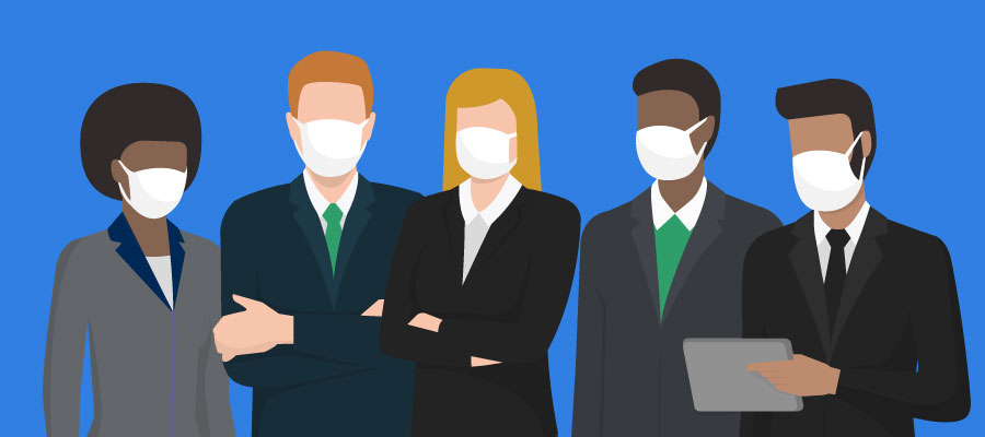 business people wearing masks