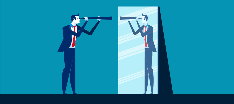 illustration of business man looking in mirror