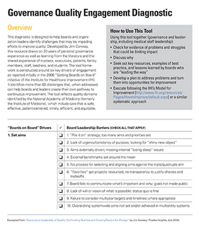 governance quality engegement diagnostic tool